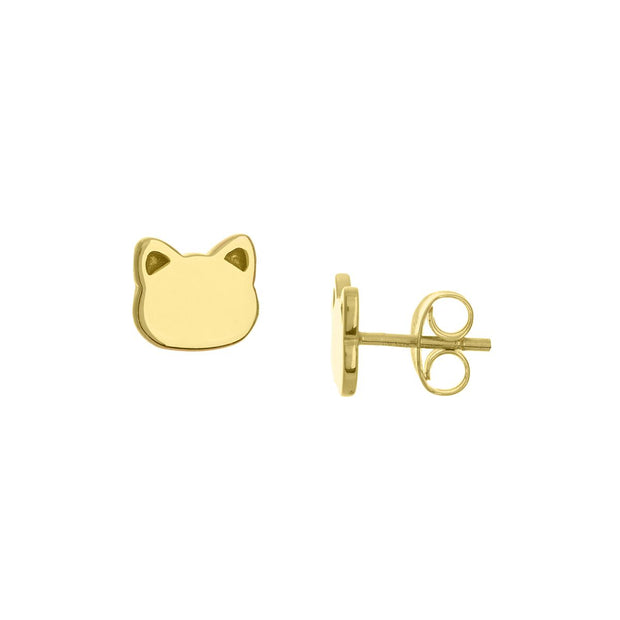 14k Yellow Gold Cat Face Studs