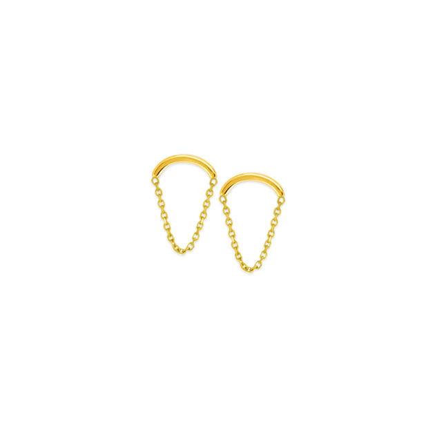 14K Gold Curved Wire Chain Drape Earrings