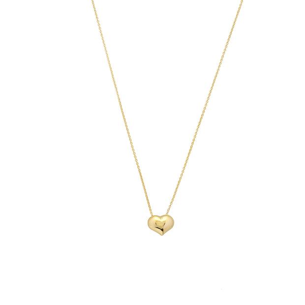14K Gold Puffed Heart Necklace