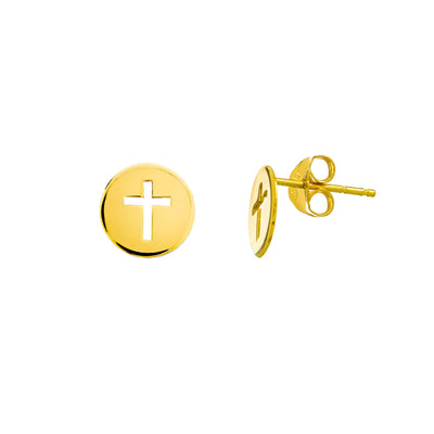 14K Gold Circle Cut-out Cross Stud Earrings