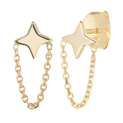 14K Gold Diamond Star and Chain Drop Earrings