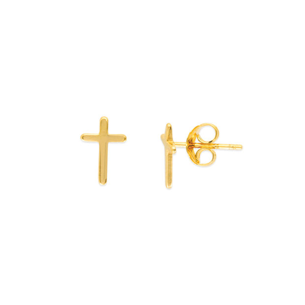 14K Gold Cross Studded Earrings
