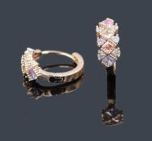 Load image into Gallery viewer, Earrings -  Oro Laminado -  Gold Diamond Shape Hoop Earrings