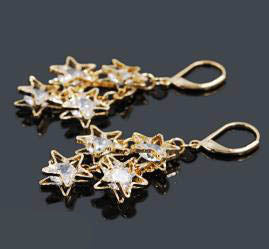 Earrings - Oro Laminado Stars Drop Earrings