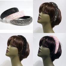 Load image into Gallery viewer, Padded Rhinestone Headband - Black & White & Silver