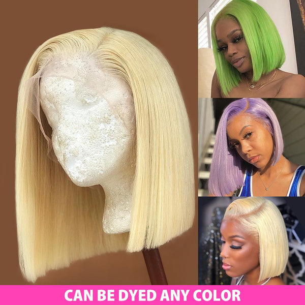 T Part #613 Blonde Straight Bob Wig Human Hair Lace Front Wig Silky Blunt Cut