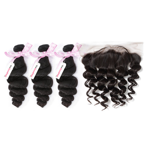 100% Human Virgin Hair 3 Bundles With Lace Frontal Loose Wave