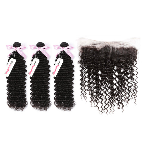 100% Human Virgin Hair 3 Bundles With Lace Frontal Deep Curly