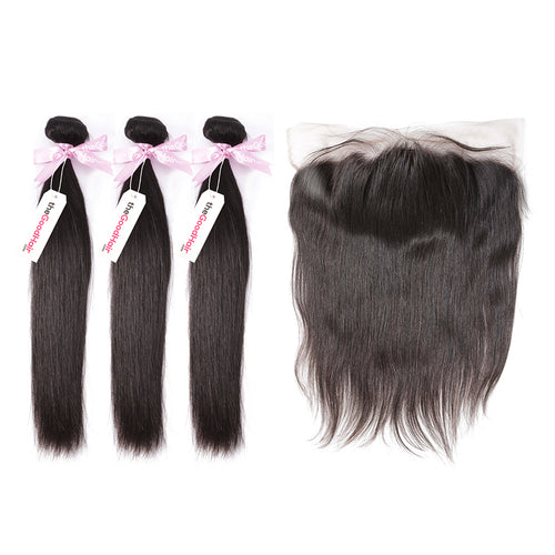 100% Human Virgin Hair 3 Bundles With Lace Frontal Straight