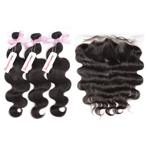 100% Human Virgin Hair 3 Bundles With Lace Frontal Body Wave