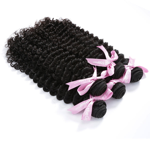 7A 3 Bundles Brazilian Hair With Frontal Deep Curly