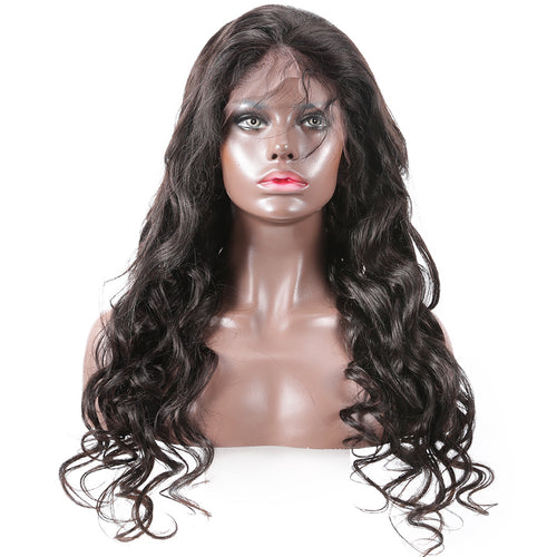 Pre bleached knots best virgin human hair full lace wig loose wave