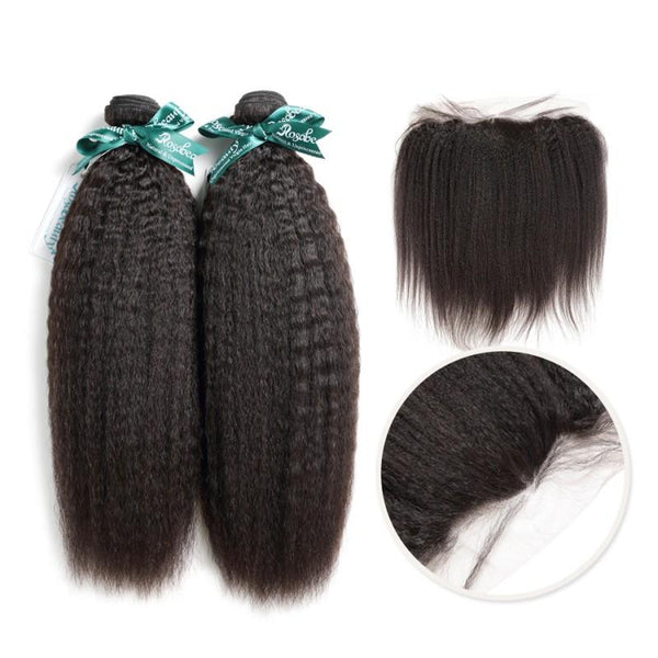 7A 2 Bundles Brazilian Hair with Frontal Kinky Straight