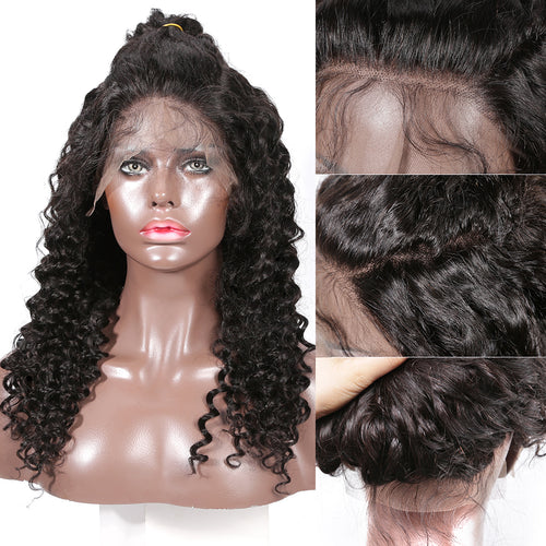 250% High density frontal lace wig pre plucked deep curly