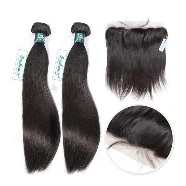 7A 2 Bundles Brazilian Hair with Frontal Straight