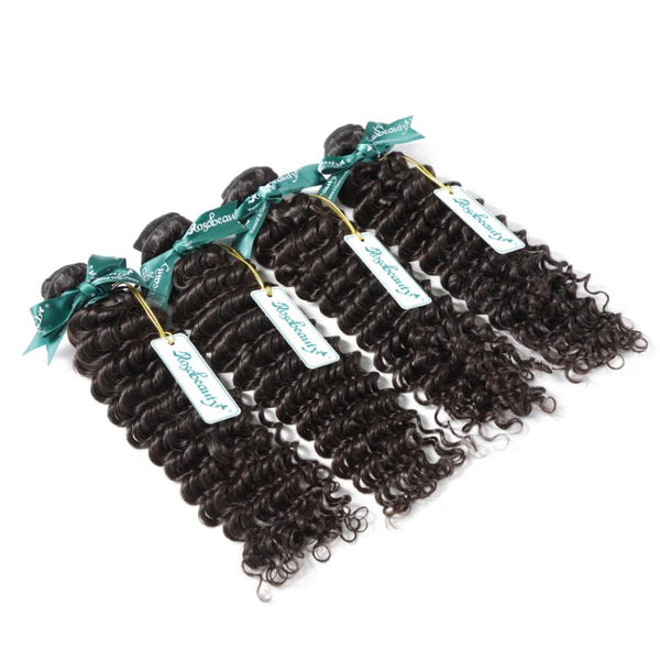 7A 4 Bundles Hair Weave Brazilian Hair With Lace Closure Deep Wave