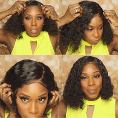 Undetectable transparent lace best virgin hair full lace wig deep curly HD lace wig
