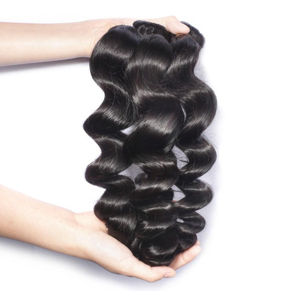 7A 2 Bundles Brazilian Hair With Frontal Loose Wave
