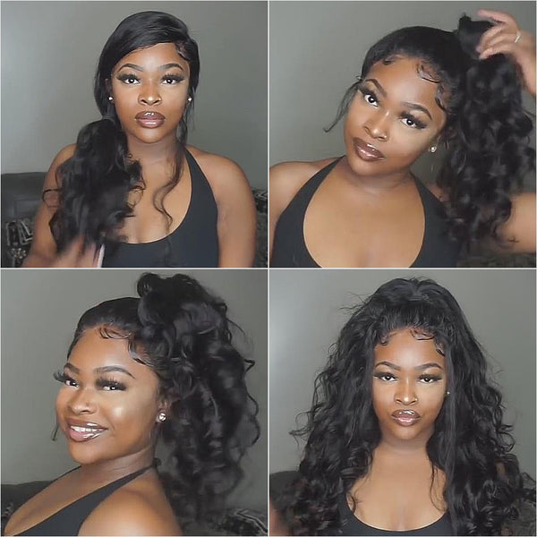 250% density breathable 360 lace wig pre plucked loose wave