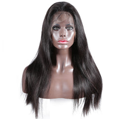 250% density breathable 360 lace wig pre plucked straight