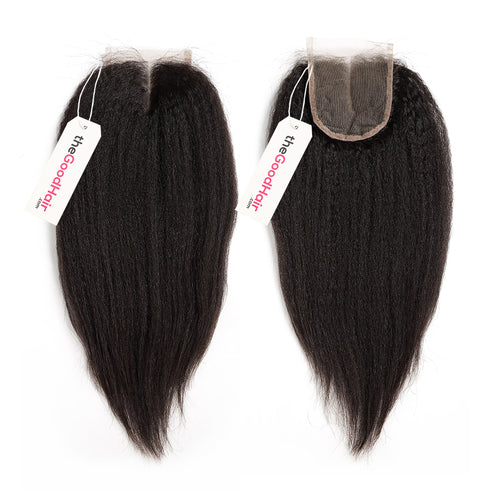 100% Human Hair Lace Closure Kinky Straight