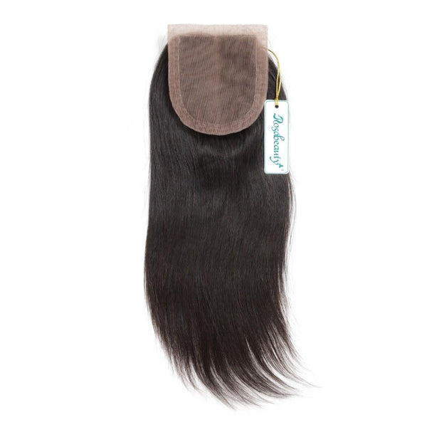 7A 4 Bundles Hair Weave Brazilian Hair With Silk Base Closure Straight