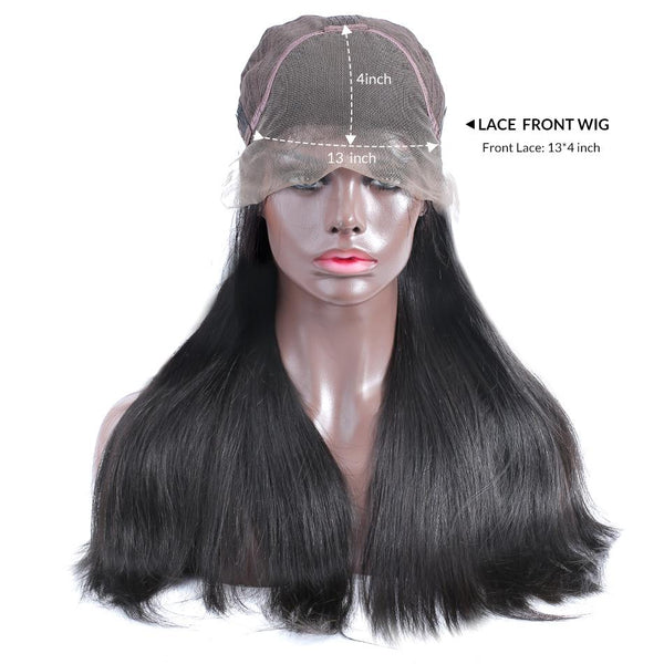 250% high density frontal 13x6 lace wig pre plucked straight