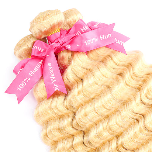 613 100% Human Virgin Blonde Hair Deep Wave 4-5 Bundles