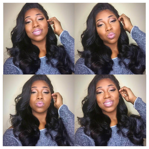 Undetectable transparent lace best virgin hair full lace wig body wave