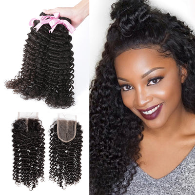 100% Human Virgin Hair 3 Bundles With Lace Closure Deep Curly