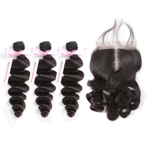 100% Human Virgin Hair 3 Bundles With Lace Closure Loose Wave