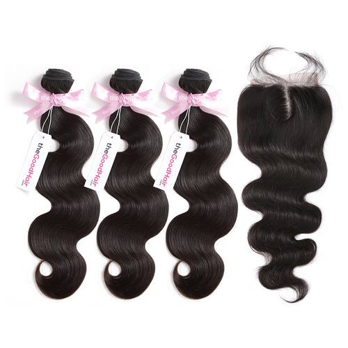100% Human Virgin Hair 3 Bundles With Lace Closure Body Wave