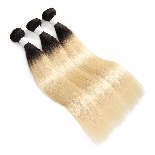 8A #T1B/613 Straight Hair Bundles 3:7