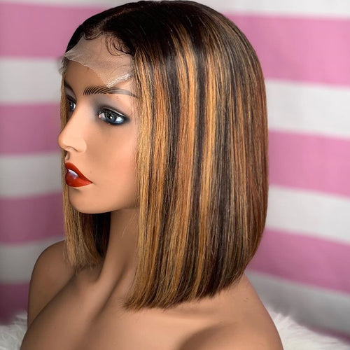 T4/27 Straight Blonde Bob Wig Ombre Human Hair Silky Blunt Cut