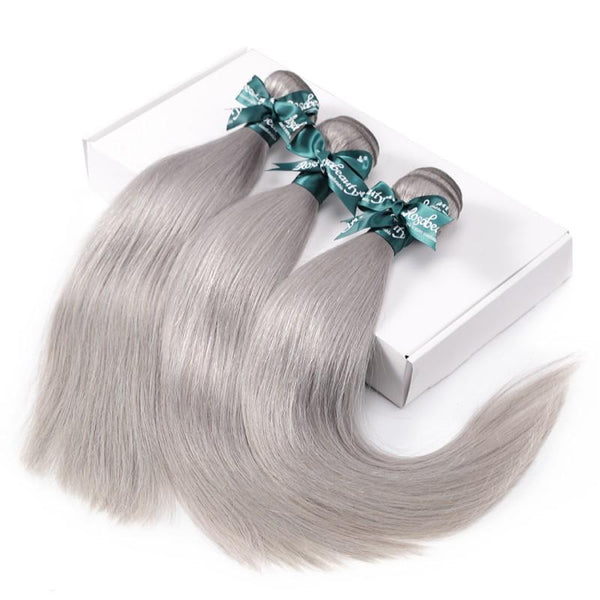 8A Sliver Grey Straight Hair Bundles
