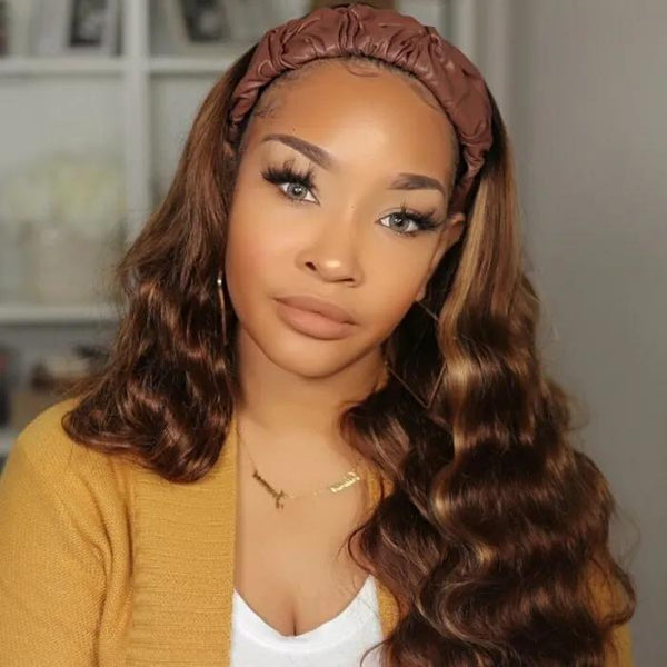 #1B/412 Ombre Color Body Wave Headband Wigs Virgin Human Hair