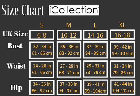 icollection lingerie brand size chart