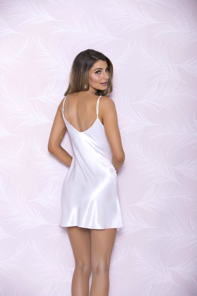 woman showing the back of a silk chemise