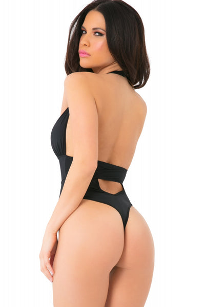Back view of woman wearing thong bodysuit