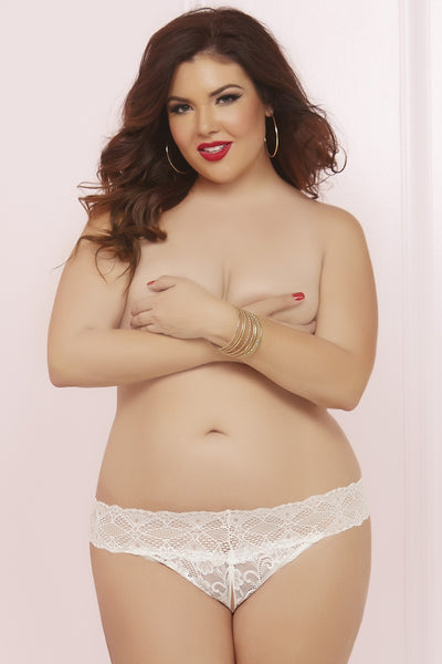 Front view naked plus size woman covering her breasts wearing lace hipster open crotch white knickers