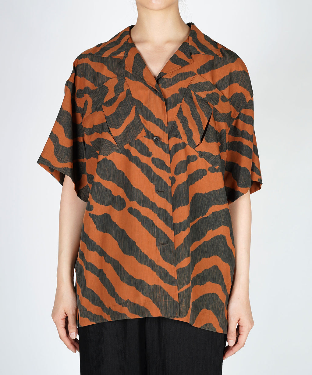 Zebra open collar shirt