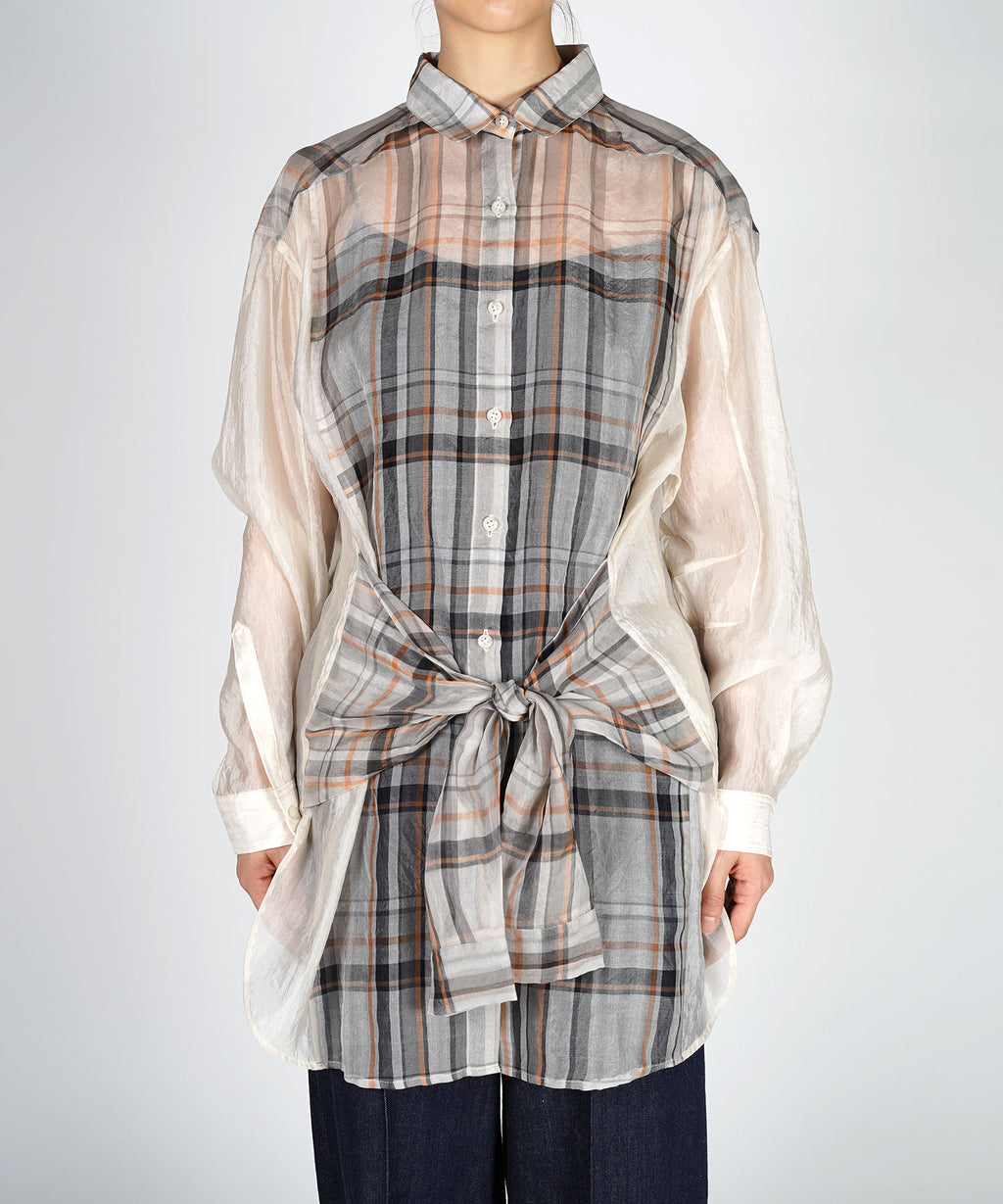 Organdy check blouse