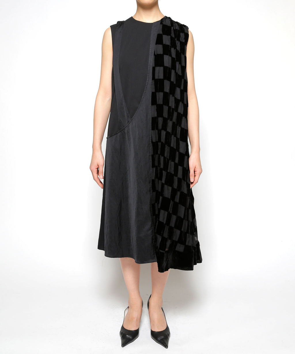 Opal check asymmetry dress