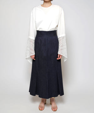 Denim Inverted tuck skirt