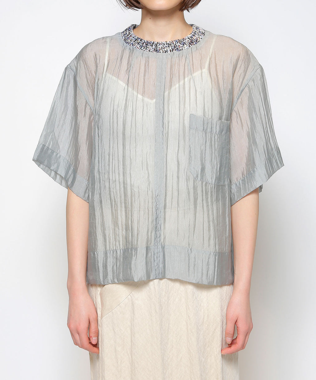 Knit rib organdy top