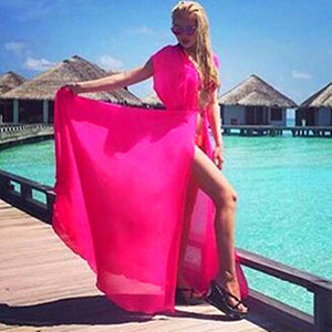 This beautiful fluorescent pink cover dress is the perfect match to wear on top of any swimsuit or bikini, it is slightly transparent, light and dry fast. This color has no sleeves.