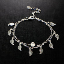 Beautiful silver plated metal anklet foot chain; it is double layered with a trendy leaf design.