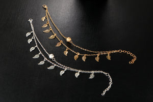 Beautiful anklet foot chain; it is now available in double layers of silver or gold plated metal with a trendy leaf design.