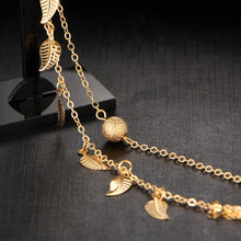 Beautiful gold plated metal anklet foot chain; it is double layered with a trendy leaf design.