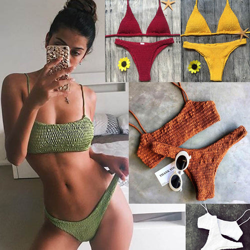Trendy bikini set in three different shapes, bandeau, triangle, and triangle with frilling. The three designs are all designed with decorative smock and made of polyester and cotton. This set is available in multiple colors.